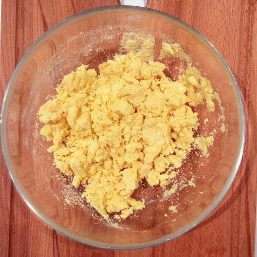 cornflour with hot water looks like bread crumb texture.